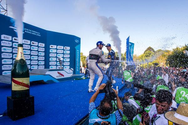 2015/2016 FIA Formula E Championship. Buenos Aires ePrix, Buenos Aires, Argentina. Saturday 6 February 2016. Sam Bird (GBR), DS Virgin Racing DSV-01, Sebastien Buemi (SUI), Renault e.Dams Z.E.15 and Lucas Di Grassi (BRA), ABT Audi Sport FE01. Photo: Zak Mauger/LAT/Formula E ref: Digital Image _L0U1720