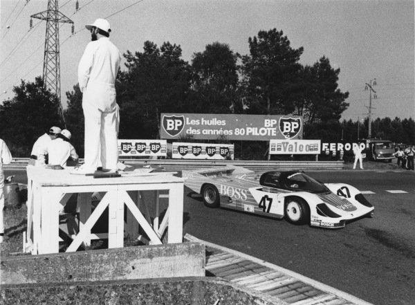 Le Mans, France. 16th - 17th June 1984. Jurgen Lassig/George Fouche/John Graham (Porsche 956), retired, action.  World Copyright: LAT Photographic. Ref:  B/W Print