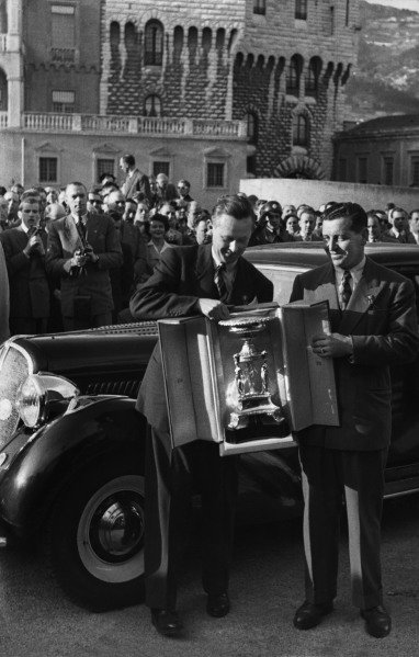 Monte Carlo, Monaco. 22nd January - 29th January 1950.Marcel Becquart / H Secret ( Hotchkiss 3435), 1st position, presented with the winners trophy, portrait.World Copyright: LAT Photographic.Ref: Autocar Used Pic 10th February 1950 Pg 172.