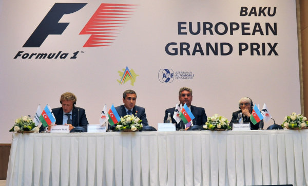 (L to R): Hermann Tilke (GER) Circuit Designer, Anar Alakbarov (AZ) Executive Director of the Heydar Aliyev Foundation and President of Azerbaijan Automobile Foundation, Azad Rahimov (AZ) Azerbaijan Minister of youth and sport and Bernie Ecclestone (GBR) CEO Formula One Group (FOM) .