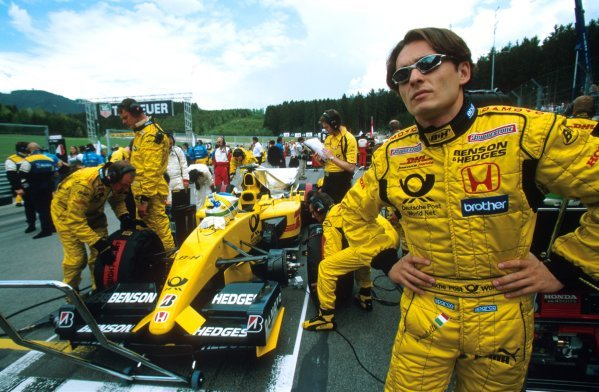 A thoughtful Giancarlo Fisichella (ITA) Jordan Honda EJ12 on the grid. He would go on to achieve Jordan's first points of the year in 5th place.