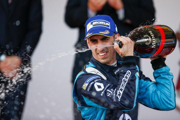 2016/2017 FIA Formula E Championship. Monte-Carlo, Monaco Saturday 13 May 2017. Sebastien Buemi (SUI), Renault e.Dams, Spark-Renault, Renault Z.E 16, sprays the champagne on the podium. Photo: Alastair Staley/LAT/Formula E ref: Digital Image _X0W1362