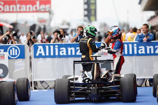 Circuit de Catalunya, Barcelona, Spain. 13th May 2012. Sunday Race. Conor Daly (USA, Lotus GP) celebrates his victory. World Copyright: Alastair Staley/GP3 Media Service. Ref: Digital Image AS5D1730.jpg