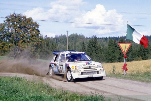 1985 World Rally Championship.1000 Lakes Rally, Finland. 23-25 August 1985.Timo Salonen/Seppo Harjanne (Peugeot 205 T16 E2), 1st position.World Copyright: LAT PhotographicRef: 35mm transparency 85RALLY08