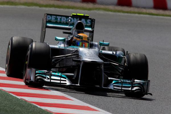 Circuit de Catalunya, Barcelona, Spain 10th May 2013 Lewis Hamilton, Mercedes W04.  World Copyright: Charles Coates/LAT Photographic ref: Digital Image _X5J7505