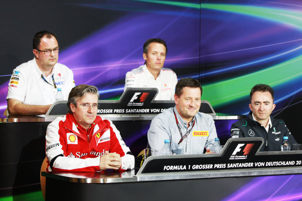 Nurburgring, Germany. 5th July, 2013. Pat Fry, Director of Chassis, Ferrari, Tom McCullough, Head of Track Engineering, Sauber F1, Paul Hembery, Director, Pirelli, Paddy Lowe, Executive Director (Technical), Mercedes AMG, and Sam Michael, Sporting Director, McLaren, in the Friday Press Conference World Copyright: Andy Hone/  ref: Digital Image HONY0316
