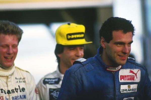 The podium finishers (L to R): Peter Rogers (GBR); Philippe Favre (SUI); Roland Ratzenberger (AUT) Van Diemen, race winner.British Formula Ford Festival, Brands Hatch, England, 24-26 October 1986.
