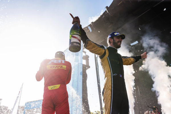 2016/2017 FIA Formula E Championship. Round 11 - Montreal ePrix, Canada Saturday 29 July 2017.Jean-Eric Vergne (FRA), Techeetah, Spark-Renault, Renault Z.E 16, celebrates on the podium. Photo: Andrew Ferraro/LAT/Formula E ref: Digital Image _FER4519