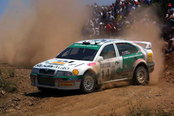 Didier Auriol in action in the Skoda Octavia WRC, Acropolis Rally 2003.Photo: McKlein/LAT