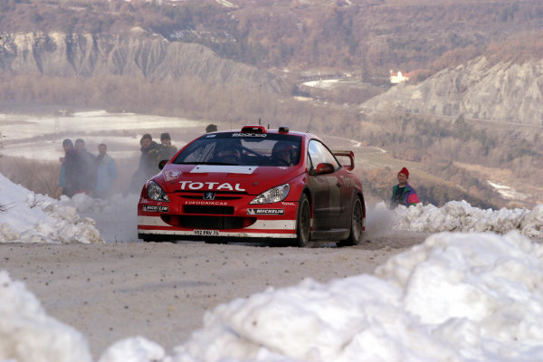 2004 FIA World Rally Champs. Round one, Monte Carlo Rally.22nd-25th January 2004.Marcus Gronholm, Peugeot, action.World Copyright: McKlein/LAT