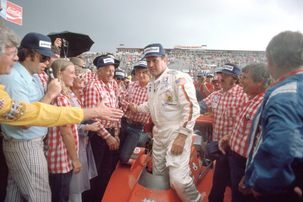 1975 USAC Indycar Series.Pocono, PA, USA. 29th June 1975.AJ Foyt (Coyote-Ford/Foyt), 1st position, in victory lane.World Copyright: Murenbeeld/LAT Photographic