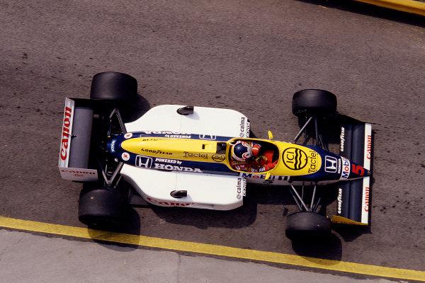 1987 San Marino Grand Prix.Imola, Italy.1-3 May 1987.Nigel Mansell (Williams FW11B Honda) 1st position.Ref-87 SM 28.World Copyright - LAT Photographic