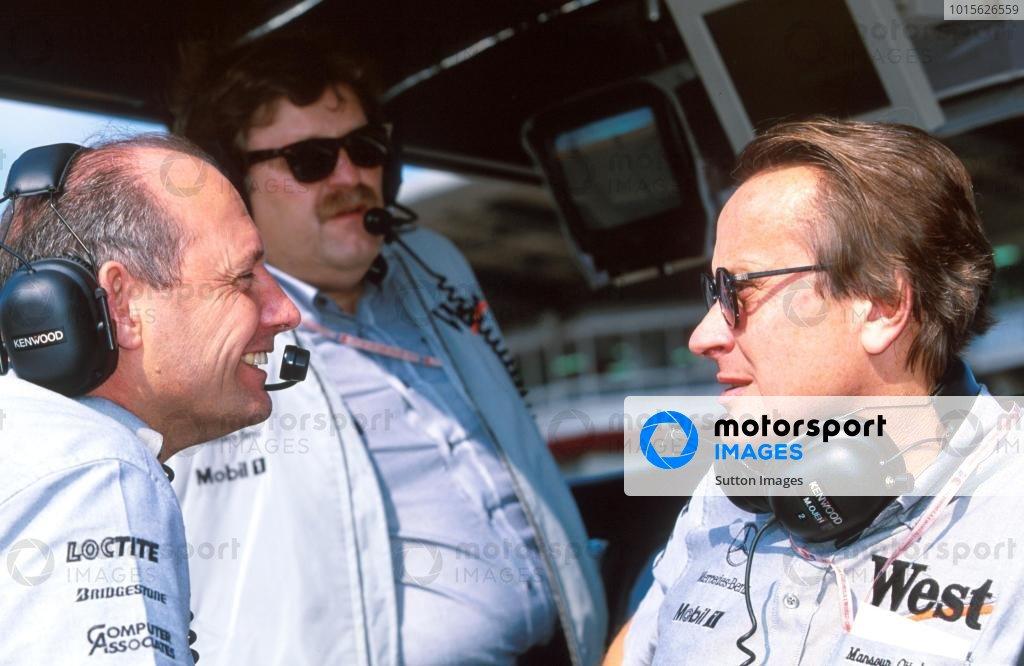 L to R: Ron Dennis (GBR) Mclaren Boss, Norbert Haug (GER) Mercedes and Mansour Ojjeh (KSA) TAG McLaren Group Formula One World Championship, Japanese GP, Rd 16, Suzuka, Japan, 1 November 1998.