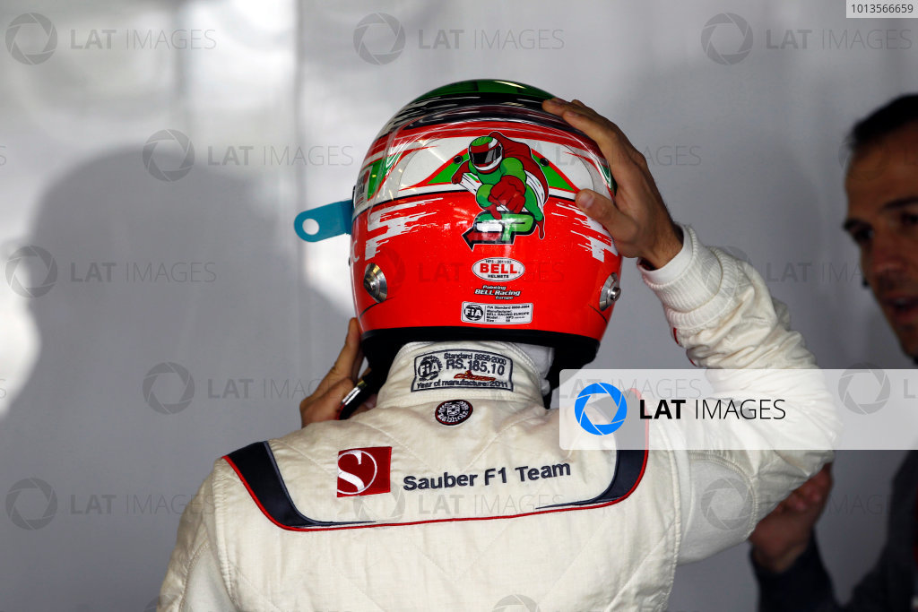 Albert Park, Melbourne, Australia 25th March 2011. Sergio Perez, Sauber C30 Ferrari. Portrait. Helmets.  World Copyright: Andrew Ferraro/LAT Photographic ref: Digital Image