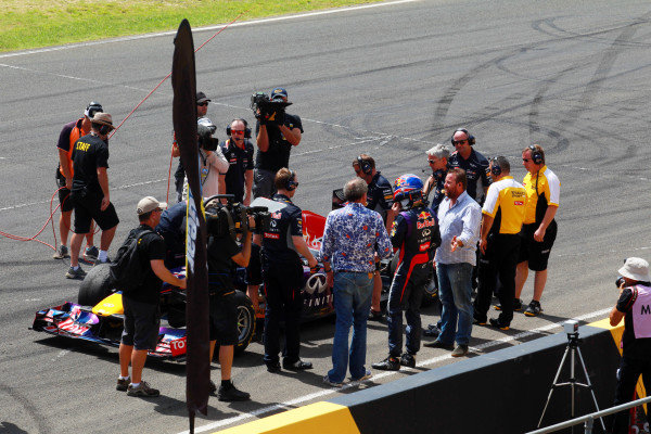 Mark Webber (AUS) Red Bull Racing on the grid with Jereny Calrkson (GBR). Top Gear Festival, Sydney Motorsport Park, Sydney, Australia, 9-10 March 2013.