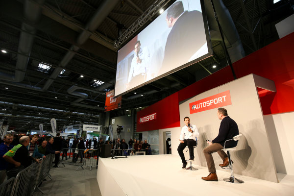 Autosport International Exhibition. National Exhibition Centre, Birmingham, UK. Saturday 13th January 2018. Richard Millener from M-Sport talks to Henry Hope-Frost on the Autosport Stage. World Copyright: James Roberts/JEP/LAT Images Ref: JR2_5454