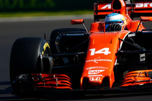Autodromo Hermanos Rodriguez, Mexico City, Mexico. Friday 27 October 2017. Fernando Alonso, McLaren MCL32 Honda.  World Copyright: Sam Bloxham/LAT Images  ref: Digital Image _W6I9634