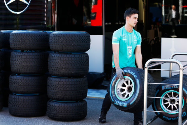 Autodromo Nazionale di Monza, Monza, Italy. Sunday 6 September 2015. A Mercedes engineer packs away the wets. World Copyright: Jed Leicester/LAT Photographic ref: Digital Image _L1_9619