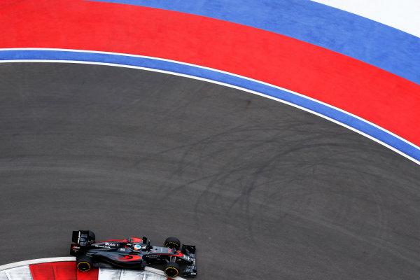 Sochi Autodrom, Sochi, Russia. Friday 9 October 2015. Fernando Alonso, McLaren MP4-30 Honda. World Copyright: Charles Coates/LAT Photographic ref: Digital Image _N7T7577