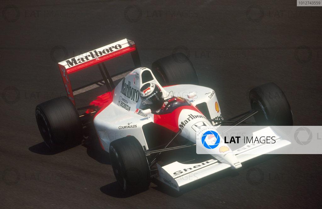 1991 Italian Grand Prix.Monza, Italy.6-8 September 1991.Gerhard Berger (McLaren MP4/6 Honda) 4th position, at Parabolica.Ref-91 ITA 25.World Copyright - LAT Photographic