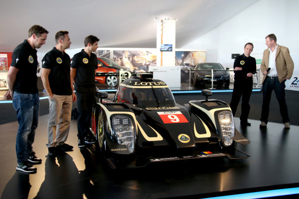 Official unveiling of the all new Lotus T129 LMP1 prototype car at the Innovation Centre. The Kodewa Racing Team are now hopeful of having the car ready for the fifth round of the WEC: the 6 Hours of Circuit of the Americas in Austin, Texas on 20 September 2014.Lotus LMP Team including drivers (L to R): Christijan Albers (NED), Christophe Bouchut (FRA), Pierre Kaffer (GER) and Lotus LMP Head of Operations, Boris Bermes, right.24 Heures du Mans, Le Mans, France, 12 June 2014.
