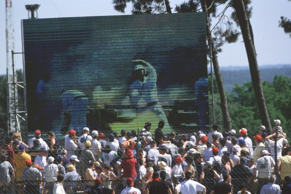 2000 Le Mans 24 Hours.Le Mans, France.17-18 June 2000.The screens show the Cadillac Northstar LMP of Marc Goossens/Christophe Tinseau/Kristian Kolby on fire.World - Bloxham/LAT Photographic