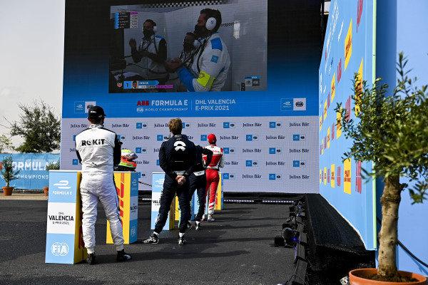 Alex Lynn (GBR), Mahindra Racing, Tom Blomqvist (GBR), NIO 333, Oliver Turvey (GBR), NIO 333 and Norman Nato (FRA), Venturi Racing during superpole