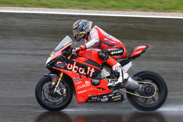 Chaz Davies, Aruba.it Racing-Ducati Team on wett assessment laps.
