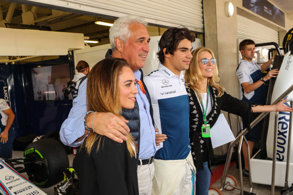 Lance Stroll (CDN) Williams and his Father Lawrence Stroll (CDN) celebrate his 19th Birthday with family at Formula One World Championship, Rd18, Mexican Grand Prix, Race, Circuit Hermanos Rodriguez, Mexico City, Mexico, Sunday 29 October 2017.