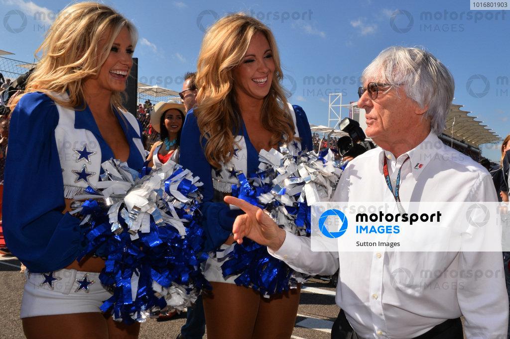 Bernie Ecclestone (GBR) CEO Formula One Group (FOM) on the grid with grid girls. Formula One World Championship, Rd18, United States Grand Prix, Race, Austin, Texas, USA, Sunday 17 November 2013. BEST IMAGE
