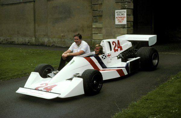 (L to R): Lord Alexander Hesketh (GBR) Le Patron (Team Owner) of Hesketh sits alongside James Hunt (GBR) in the new Hesketh 308C (That wasn't debuted until the non-championship Swiss GP in August 1975) at Hesketh headquarters in Towcester, nr Silverstone. 