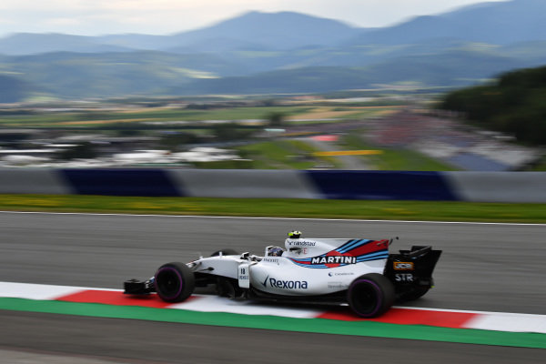 Lance Stroll (CDN) Williams FW40 at Formula One World Championship, Rd9, Austrian Grand Prix, Practice, Spielberg, Austria, Friday 7 July 2017.