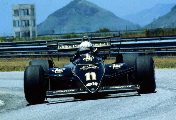 1984 Brazilian Grand Prix.Jacarepagua, Rio de Janeiro, Brazil.23-25 March 1984.Elio de Angelis (Lotus 95T Renault) 3rd position.World Copyright - LAT Photographic