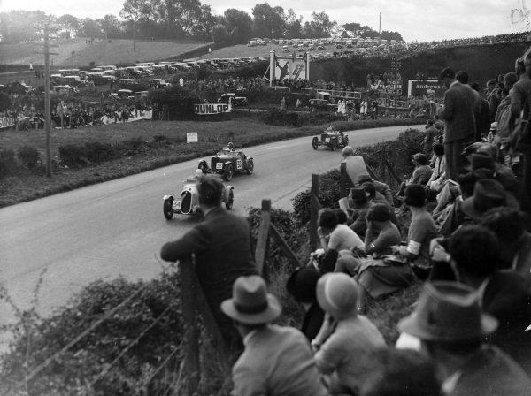 F. H. ffrench-Davis, Fiat 508S, leads, Norman Black, W. E. Bullock, Singer 9 Le Mans Replica, and S. C. H. Davis, W. E. Bullock, Singer 9 Le Mans Replica.