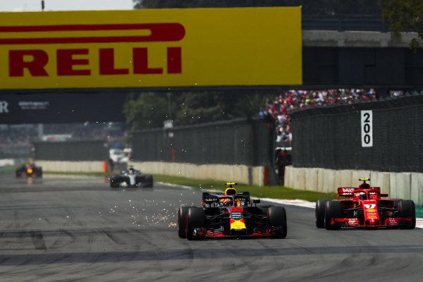 Max Verstappen, Red Bull Racing RB14, passes Kimi Raikkonen, Ferrari SF71H