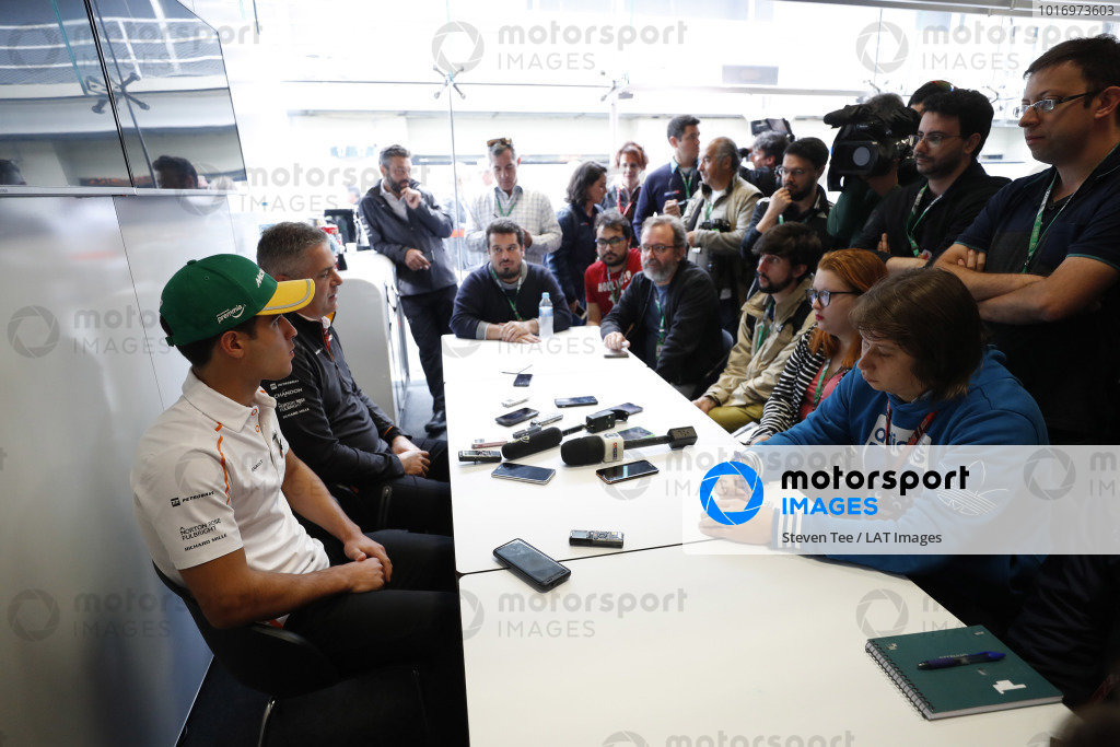Gil de Ferran, Sporting Director, McLaren, announces Sergio Sette Camara to the media as the team's new test and development driver.