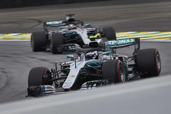 Valtteri Bottas, Mercedes AMG F1 W09 EQ Power+, leads Lewis Hamilton, Mercedes AMG F1 W09 EQ Power+