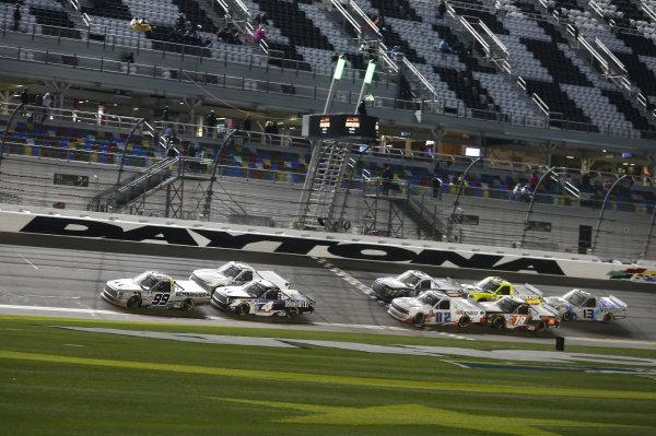 #98: Christian Eckes, ThorSport Racing, Toyota Tundra, #2: Sheldon Creed, GMS Racing, Chevrolet Silverado, #4: John Hunter Nemechek, Kyle Busch Motorsports, Toyota Tundra Mobil 1