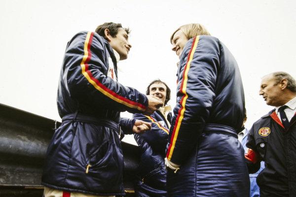 Jacky Ickx with Tim Schenken and Ronnie Peterson.