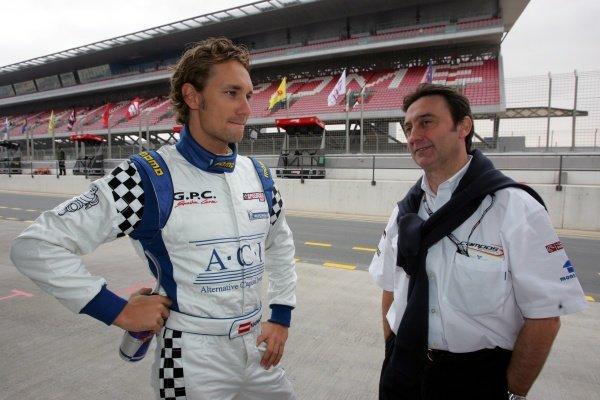 Mathias Lauda (AUT) and Adrian Campos (ESP) Team Owner, Barwa International, GP2 Asia Team Speedcar Series, Rd1, Dubai Autodrome, Dubai, United Arab Emirates, 24-26 January 2008.
