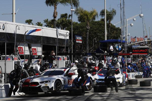#25 BMW Team RLL BMW M8 GTE, GTLM: Tom Blomqvist, Connor De Phillippi, #24 BMW Team RLL BMW M8 GTE, GTLM: Jesse Krohn, John Edwards, pit stop