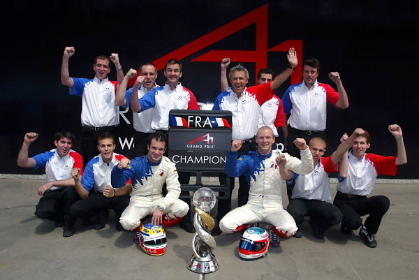 A1 Team France including Alexandre Premat (FRA) A1 Team France, Nicolas Lapierre (FRA) A1 Team France and Jean-Paul Driot (FRA) A1 Team France Team Manager celebrate their World Cup win with the World cup trophy. A1 Grand Prix, Rd11, Practice Day, Shanghai, China, 31 March 2006. DIGITAL IMAGE