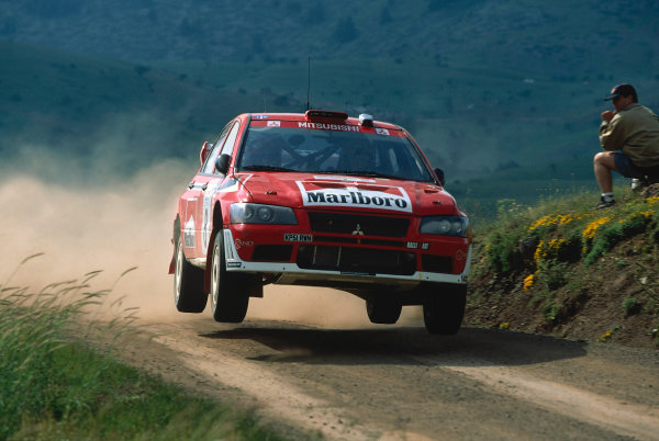 2002 World Rally ChampionshipAcropolis Rally, Greece. 13th - 16th June 2002.Alister McRae/David Senior, Mitsubishi Lancer Evo WRC, action.World Copyright: McKlein/LAT Photographicref: 35mm Image A14