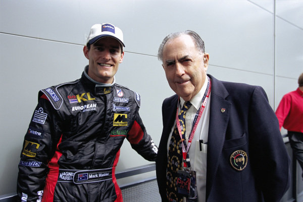 Mark Webber, Minardi, and Sir Jack Brabham.