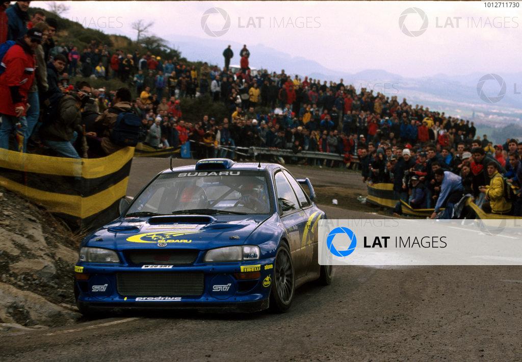 Richard Burns in his Subaru Impreza WRC2000, during leg 2 of the Catalunya Rally