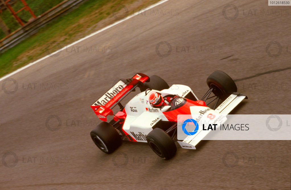 Monza, Italy.7-9 September 1984.Niki Lauda (McLaren MP4\2 TAG Porsche) 1st position at Parabolica.Ref-84 ITA 05.World Copyright - LAT Photographic