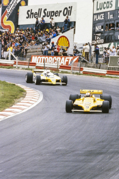 Marc Surer, ATS D4 Ford, leads René Arnoux, Renault RE20.