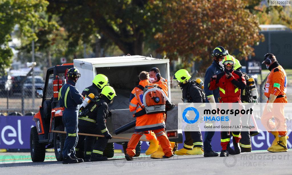 The bike of Mattia Casadei, Ongetta SIC58 Squadracorse after the crash.