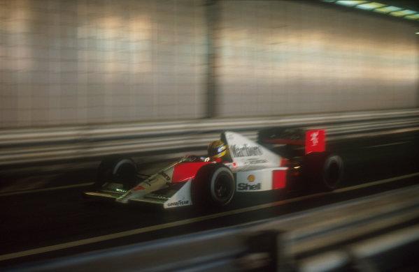 1990 Monaco Grand Prix.Monte Carlo, Monaco.25-27 May 1990.Ayrton Senna (McLaren MP4/5B Honda) 1st position in the Tunnel.Ref-90 MON 02.World Copyright - LAT Photographic