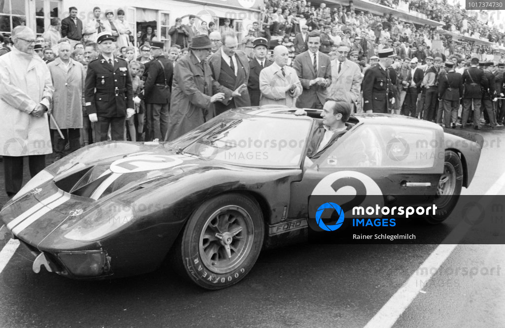 Chris Amon opens the door on the Shelby American Inc., Ford Mk II he shared with Bruce McLaren.